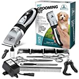 Pet Union Professional Dog Grooming Kit - Rechargeable, Cordless Pet Grooming Clippers & Complete Set of Dog Grooming Tools. Low Noise & Suitable for Dogs, Cats and Other Pets (Silver)