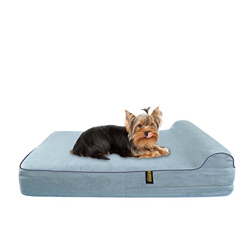 KOPEKS Medium Dog Bed for Toy Small to Medium Size Dogs Cats and Pets with Orthopaedic Memory Foam 63 x 50 x 10 cm Plus the Pillow - S - M - Grey