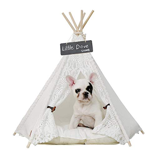 little dove Pet Teepee Dog(Puppy) & Cat Bed - Portable Pet Tents & Houses for Dog(Puppy) & Cat Lace Style 24 Inch with Thick Cushion