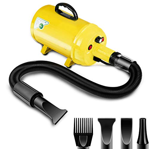 Amzdeal Dog Dryer Pet Hair Dryer 3.8HP 2800W Stepless Speed Dog Blaster Blower Dryer Professional Grooming Dryer for Dogs and Cats, with Spring Hose, Heat System, 4 Nozzles, Yellow