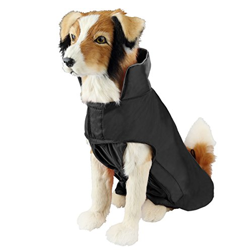 SelfLove Dog Coat 100% Waterproof Nylon- Fleece Lined Jacket Reflective Dog Jacket Warm Dog Coat Climate Changer Fleece Jacket Easy On and Off Size M, Black