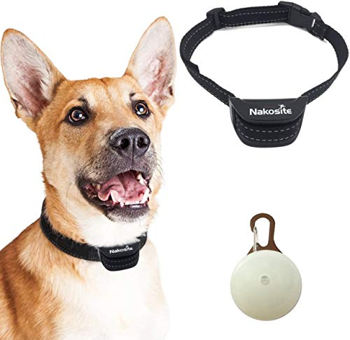 Nakosite PET2433 Best Anti Bark Dog Collar, Stop dogs barking Collar. Uses audible Sound and Vibration. NO SHOCK. Nylon Neck Strap for Small Medium and Large Dogs. LED DOG TAG