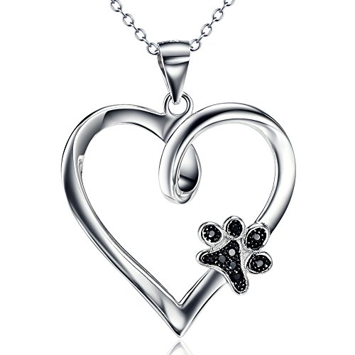 Paw Print Necklace 925 Sterling Silver Dog Paw Heart Pendant Necklace Jewellery for Women Girls 18' Rolo Chain