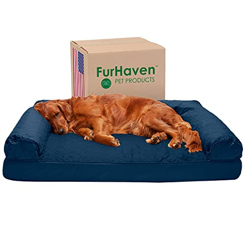 FurHaven Jumbo Quilted Orthopedic Sofa Pet Bed for Dogs and Cats, Navy
