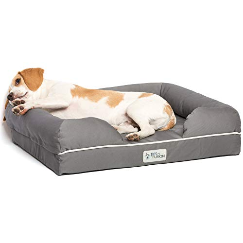 PetFusion Ultimate Solid 2.5' Memory Foam Pet Bed for Small Dogs & Cats (25x20x5.5' orthopedic sofa couch; Gray). Replacement covers & blankets also avail