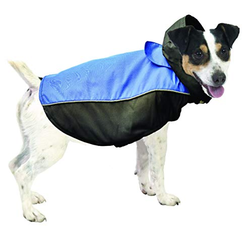 Pistachio Pet All Weather Dog Coat - Double Layer, Waterproof Fleece-lined With Detachable Hood (Small, Blue/Black)