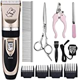 Otstar Dog Clippers, Rechargeable Cordless Dog Grooming Clipper Kit for Dogs Cats and Other Animals with Stainless Steel Comb and Scissors, Low Noise Low Vibration Dog Shaver (Black and Gold)