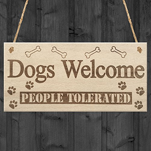 RED OCEAN Dogs Welcome People Tolerated Animal Lover Puppy Hanging Plaque Novelty House Gift Sign
