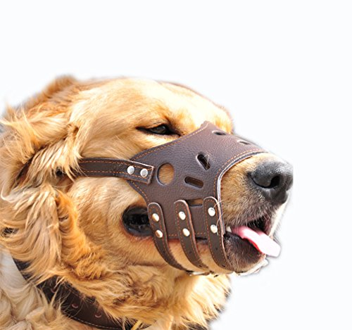 HiujingSport JeonbiuPet Adjustable Dog Muzzle Anti Bite Bark Allow Drink Soft Leather (M)