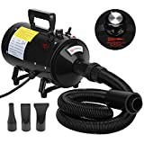 Voilamart 2800W Variable Speed Pet Grooming Hair Dryer High Velocity Dog Cat Hairdryer Blaster Fur Blower with 2 Gear Temperature and Flexible Hose Black, 1 YEAR WARRANTY