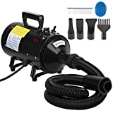 Voilamart 2800W Pet Dryer Low Noise Motorcycle Dryer Dog Grooming Blaster with Variable Speed Adjustable Temperature Heater, Bath Comb and Flexible Hose(Black)