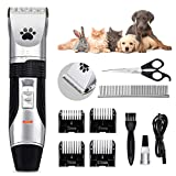 Dog Grooming Clippers, Focuspet 2 Speed Adjustable Dog Clippers Rechargeable Cordless Low Noise Dog Clippers Kit Electric Hair Trimming Set Pet Hair Shaver Detachable Blade with 4 Comb Guides