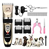 Pet Grooming Clippers, Focuspet Rechargeable Cordless Low Noise Dog Grooming Clippers Kit Electric Hair Trimming Clippers Set Pet Hair Shaver Detachable Blade with 4 Comb Guides and 4 Extra Tools