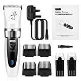 GHB Dog Grooming Clippers, Dog Clippers Dog Grooming Kit Cordless with 2 Rechargeable Batteries 4 Guide Combs and Cleaning Brush Low Noise (Upgraded)