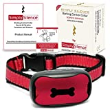 NEW Anti Barking Dog Collars | No Bark Humane & No Harm Device| STOP Bark Collar Sound & Vibration, No Shock 7 Sensitivity Levels Training For Small, Medium & Large Dogs | Water Resistant (Silver&Red)