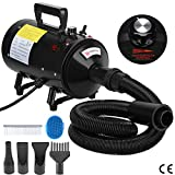 Voilamart 2800W Dog Hair Dryer High Velocity Pet Grooming Hairdryer Blaster Fur Blower with Variable Speed 2 Gear Temperature and Flexible Hose Black