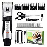 Pet Grooming Clippers, Focuspet Rechargeable Cordless Low Noise Dog Grooming Clippers Kit Electric Hair Trimming Clippers Set Pet Hair Shaver Detachable Blade with 4 Comb Guides