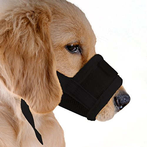ubest Dog Muzzle Soft Prevent Biting Chewing Black Large