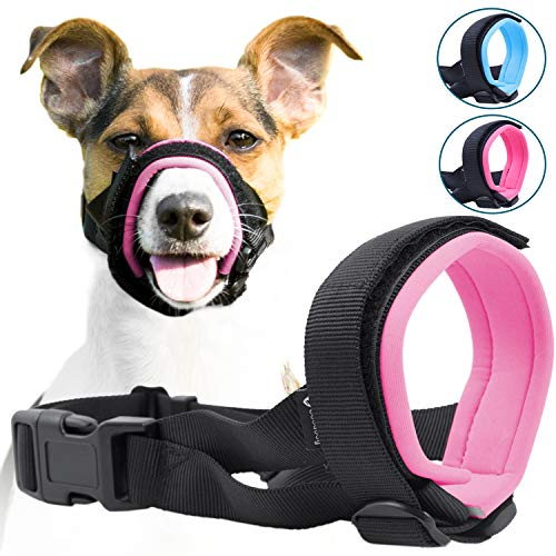 Gentle Muzzle Guard for Dogs - Prevents Biting and Unwanted Chewing Safely Secure Comfort Fit - Soft Neoprene Padding – No More Chafing –Included Training Guide Helps Build Bonds with Pet (M, Pink)