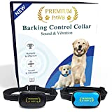 Premium Paws Dog Bark Collar Advanced Intelligence Anti Bark Dog Collar. Stop Dogs Barking with Sound & Vibration, Small & Large Dogs, No Shock, No Spray - Dog Bark Collar with Psychology E-book