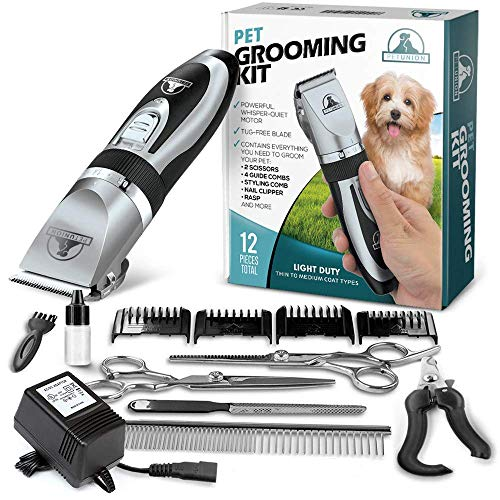 Pet Union Professional Dog Grooming Kit - Rechargeable, Cordless Pet Grooming Clippers & Complete Set of Dog Grooming Tools. Low Noise & Suitable For Dogs, Cats and Other Pets