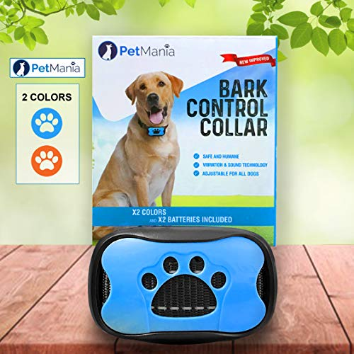 Dog Bark Collar with Vibration PetMania, No Bark Collar, Harmless and Humane, Training and Anti Bark Collar, 7 Progressive/Adjustable Levels (Blue)