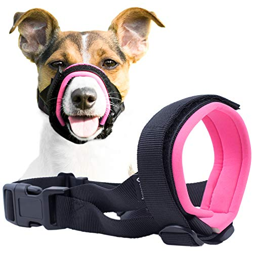 Gentle Muzzle Guard for Dogs - Prevents Biting and Unwanted Chewing Safely Secure Comfort Fit - Soft Neoprene Padding – No More Chafing –Included Training Guide Helps Build Bonds with Pet